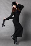 4117-2 Długa wełniana sukienka + szalik - czarny w sklepie internetowym LadyStyle