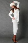 4117-1 Długa wełniana sukienka + szalik - ecru w sklepie internetowym LadyStyle