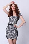 4203-3 Sukienka koronkowa - dekolt w karo + pasek - szary w sklepie internetowym LadyStyle