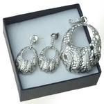 Komplet damskiej biżuterii Kolczyki i zawieszka Rodowany Srebro 925 w sklepie internetowym Bestsilver.pl