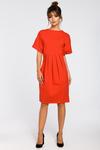 CM3183 Dresowa sukienka z zakładkami - czerwona w sklepie internetowym Cudmoda