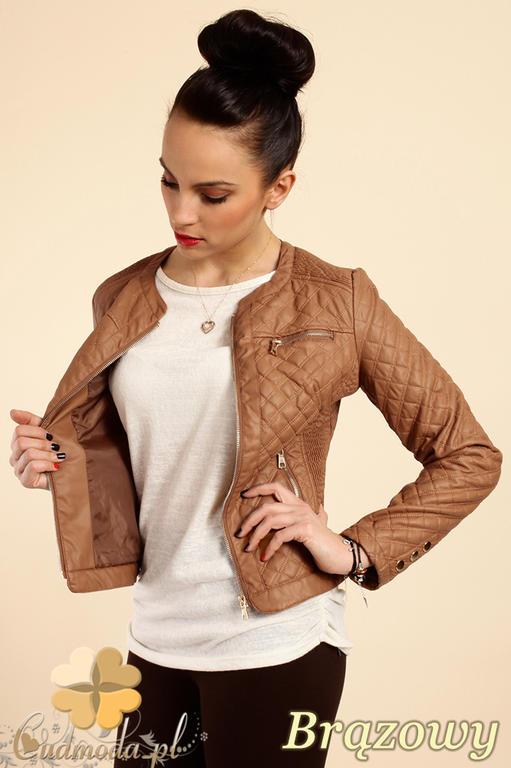 4e101e14ebdbd CM0236 Pikowana kurtka ramoneska zamki - brązowa w sklepie internetowym  Cudmoda. Powiększ zdjęcie