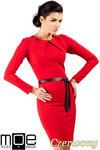 CM0333 Sukienka ołówkowa z ćwiekami - czerwona w sklepie internetowym Cudmoda