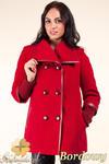 CM0360 Krótki dwurzędowy płaszczyk damski z flauszu - bordowy w sklepie internetowym Cudmoda
