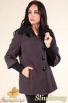 CM0361 Krótki jednorzędowy płaszczyk z flauszu - śliwkowy w sklepie internetowym Cudmoda