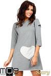 CM0356 Mini sukienka - tunika z dzianiny - szara w sklepie internetowym Cudmoda