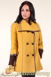 CM0360 Krótki dwurzędowy płaszczyk damski z flauszu - musztardowy w sklepie internetowym Cudmoda
