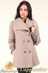 CM0360 Krótki dwurzędowy płaszczyk damski z flauszu - cappuccino w sklepie internetowym Cudmoda