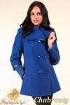 CM0360 Krótki dwurzędowy płaszczyk damski z flauszu - chabrowy w sklepie internetowym Cudmoda