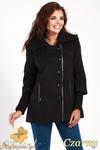 CM0361 Krótki jednorzędowy płaszczyk z flauszu - czarny w sklepie internetowym Cudmoda