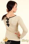 CM0345 Sweterek damski z kokardkami na plecach - złoty w sklepie internetowym Cudmoda