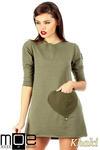CM0356 Mini sukienka - tunika z dzianiny - khaki w sklepie internetowym Cudmoda