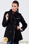 CM0379 Dwurzędowy płaszczyk damski z flauszu - czarny w sklepie internetowym Cudmoda