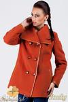 CM0379 Dwurzędowy płaszczyk damski z flauszu - rudy w sklepie internetowym Cudmoda