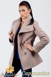 CM0379 Dwurzędowy płaszczyk damski z flauszu - cappuccino w sklepie internetowym Cudmoda