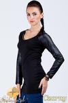 CM0392 Tunika rękawy ze skóry złoty łańcuszek - czarna w sklepie internetowym Cudmoda
