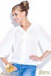 CM0398 FIGL M115 Szyfonowa bluzka damska kokarda - ecru w sklepie internetowym Cudmoda