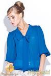 CM0398 FIGL M115 Szyfonowa bluzka damska kokarda - niebieska w sklepie internetowym Cudmoda