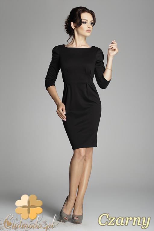 388cc2a3fe CM0400 FIGL M082 Sukienka ołówkowa z bufkami i rękawem 3 4 - czarna w  sklepie. Powiększ zdjęcie