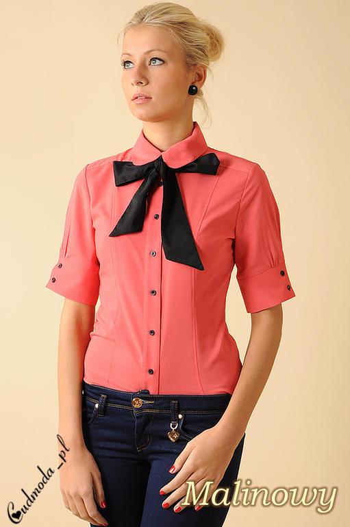 ab7951b6e89cdb CM0048 Taliowana koszula damska z krótkim rękawem i krawatką - malinowa w  sklepie internetowym Cudmoda. Powiększ zdjęcie