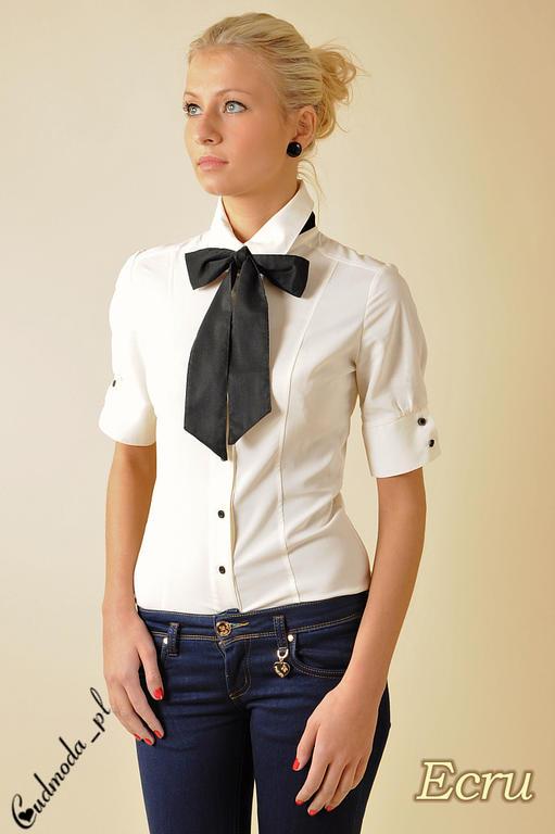 ab5bf4324e21fd CM0048 Taliowana koszula damska z krótkim rękawem i krawatką - ecru w  sklepie internetowym Cudmoda. Powiększ zdjęcie
