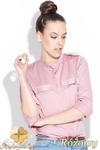 CM0429 KATRUS K004 Koszula damska z pagonami i skójką - różowa w sklepie internetowym Cudmoda