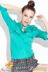 CM0429 KATRUS K004 Koszula damska z pagonami i skójką - zielona w sklepie internetowym Cudmoda