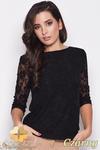 CM0454 KATRUS K077 Koronkowa bluzka damska rękaw 3/4 - czarna w sklepie internetowym Cudmoda