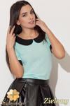 CM0455 KATRUS K088 Szyfonowa bluzka damska z kołnierzykiem - zielona w sklepie internetowym Cudmoda