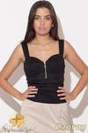 CM0459 KATRUS K102 Bluzka top damski z zameczkiem - czarny w sklepie internetowym Cudmoda