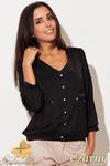 CM0462 KATRUS K115 Bluzka damska koszulowa złote guziki - czarna w sklepie internetowym Cudmoda