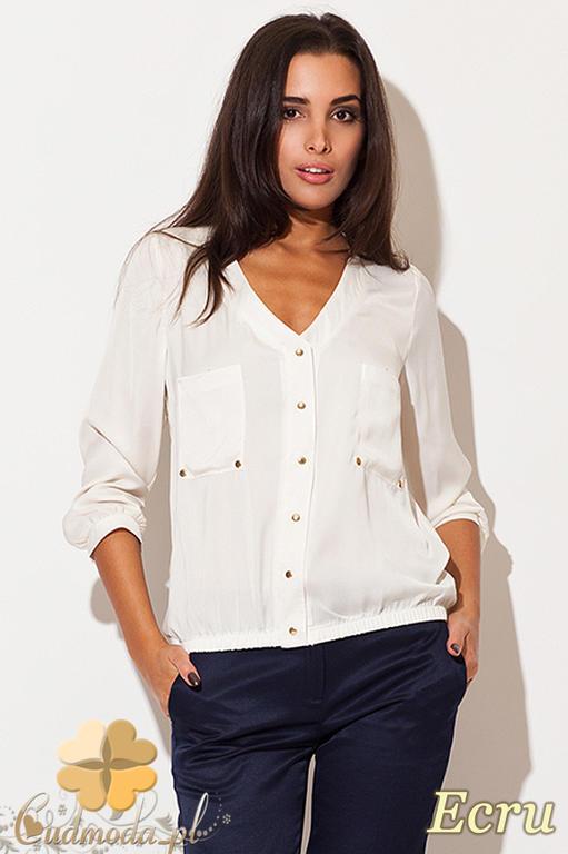 0ffe88ba4f1a28 CM0462 KATRUS K115 Bluzka damska koszulowa złote guziki - ecru w sklepie  internetowym Cudmoda. Powiększ zdjęcie