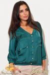CM0462 KATRUS K115 Bluzka damska koszulowa złote guziki - zielona w sklepie internetowym Cudmoda