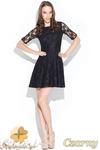 CM0463 KATRUS K003 Koronkowa sukienka rozkloszowana - czarna w sklepie internetowym Cudmoda