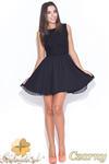 CM0464 KATRUS K007 Koronkowo - tiulowa sukienka bez rękawków - czarna w sklepie internetowym Cudmoda