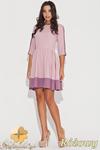 CM0470 KATRUS K057 Dwukolorowa sukienka rozkloszowana przed kolano - różowa w sklepie internetowym Cudmoda