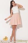 CM0475 KATRUS K083 Trójkolorowa sukienka kontrafałda - różowa w sklepie internetowym Cudmoda