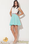 CM0475 KATRUS K083 Trójkolorowa sukienka kontrafałda - zielona w sklepie internetowym Cudmoda