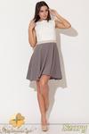 CM0475 KATRUS K083 Trójkolorowa sukienka kontrafałda - szara w sklepie internetowym Cudmoda