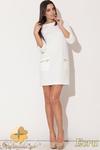 CM0477 KATRUS K087 Sukienka mini tunika z kieszeniami - ecru w sklepie internetowym Cudmoda
