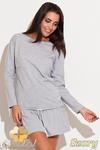 CM0485 KATRUS K111 Sukienka mini z falbanką i troczkami - szara w sklepie internetowym Cudmoda