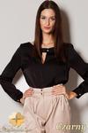 CM0494 FIGL M219 Kobieca bluzka koszulowa z długim rękawem - czarna w sklepie internetowym Cudmoda