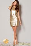 CM0497 FIGL M242 Sukienka mini z cekinami bez rękawów - beżowa w sklepie internetowym Cudmoda