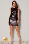 CM0497 FIGL M242 Sukienka mini z cekinami bez rękawów - czarna w sklepie internetowym Cudmoda