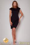 CM0504 FIGL M208 Sukienka ołówkowa z pagonami ozdobionymi cekinami - czarna w sklepie internetowym Cudmoda
