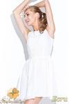 CM0509 FIGL M112 Koronkowo-tiulowa sukienka bez rękawów z podszewką - ecru w sklepie internetowym Cudmoda