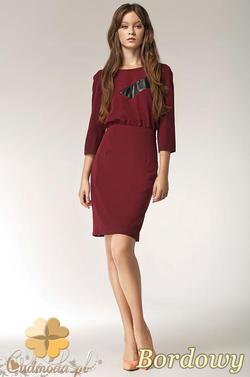 d60f0f66df CM0556 NIFE S38 Sukienka ołówkowa z asymetryczną wstawką skóry - bordowa w  sklepie internetowym Cudmoda. Powiększ zdjęcie