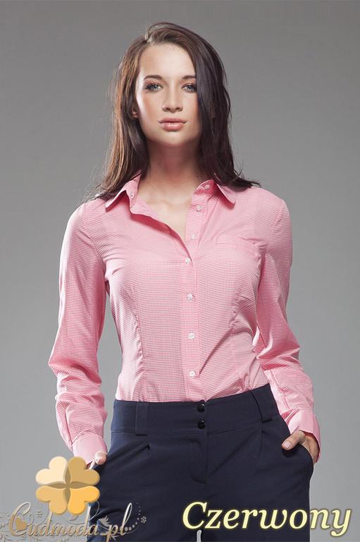 4584a07e27 CM0589 NIFE K34 Koszula damska w kratkę z długim rękawem - czerwona w  sklepie internetowym Cudmoda. Powiększ zdjęcie