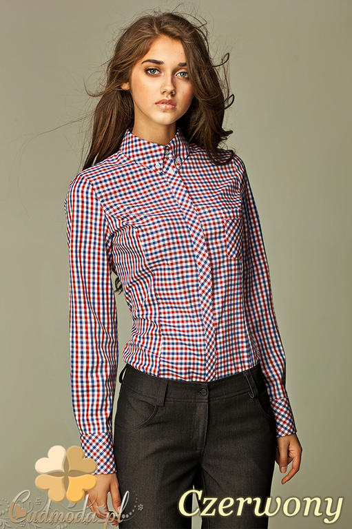 52b6f4a31a CM0592 NIFE K37 Koszula damska w kratkę z krytymi guzikami - czerwona w  sklepie internetowym Cudmoda. Powiększ zdjęcie