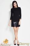 CM0625 AWAMA A39 Sukienka tunika mini ze skórzanym dołem i ćwiekami - czarna w sklepie internetowym Cudmoda